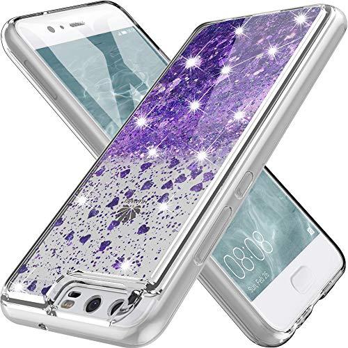 K&L Hülle für Huawei P10, Fließen Bling Dynamisch Glitzer Kratzfest Silikon Schutzülle Schale Luxus handyschalen Shiny Cover für Huawei P10 - Lila
