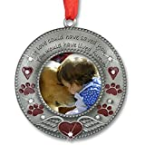 In Loving Memory Pet Ornament - Pet Memorial Christmas Photo Ornament - Furever In My Heart - Red Hearts With Angel Wings And Paw Prints - Pet Sympathy Gifts - Loss Of A Pet