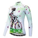 Weimostar Radfahren Langarm Jersey Frauen Mountainbike Jersey Shirts Lange Rennrad Kleidung MTB Tops Sportbekleidung Fahrrad grün Größe L