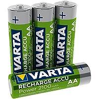 Varta Rechargeable Accu Ready2Use vorgeladener AA Mignon (2100 mAh Ni-Mh Akku, wiederaufladbar ohne Memory-Effekt, sofort einsatzbereit, 4er Pack)
