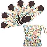 Teamoy Serviettes Hygiéniques de 6 Pièces, Lavable/Réutilisables, Avec un sac organisateur, (Large- 29.5cm/11.7 Inch, Jungle)