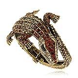 L&H Übertriebene Vintage-Krokodil-Legierung Mit Offenem Armband Für Mädchen und Mütter,Gold