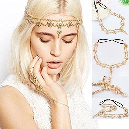 KYCUT Bohemian Stirnband Kette Damen Blume Kristall Perle Kopfschmuck Schmuck Gold Kopfschmuck für Frauen und Mädchen