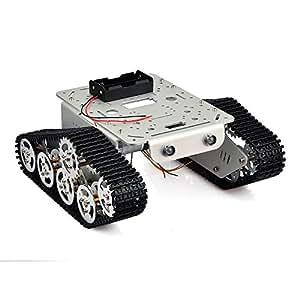 KOOKYE Robot Smart Carro Armato Metallo Acciaio Inossidabile Chassis Speed Encoder Motore 9V con Cingolato per Arduino Raspberry Pi DIY