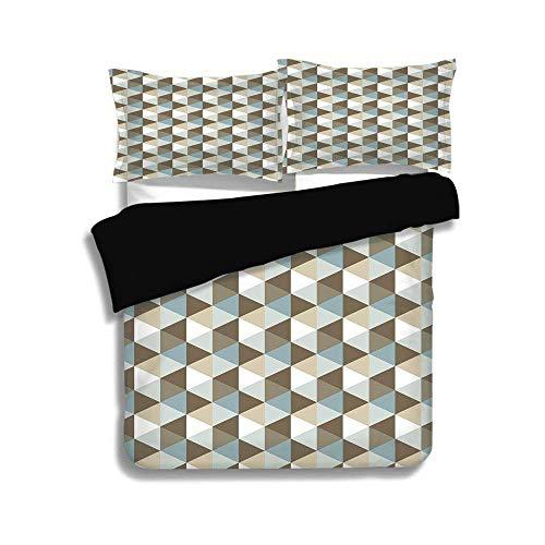 Schwarzer Bettbezug Set, geometrische, abstrakte Dreiecke Chevron dreidimensionalen Effekt Formen mit weichen Farben Bild, Multicolor, dekorative 3 Stück Bettwäsche Set von 2 Pillow Shams, TWIN-Größe (Twin Bettwäsche Für Mädchen Chevron)