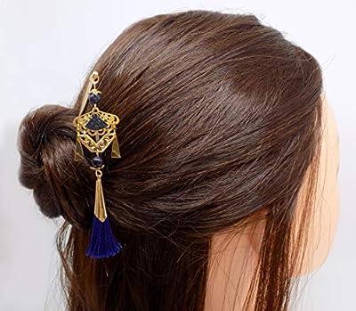 Pic à cheveux en métal doré ethnique pendentif éventail doré cuir grainé bleu métallisé et pompon bleu doré
