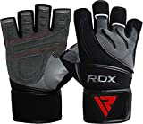 RDX Gants de Musculation Poignet Workout Fitness Entrainement Gymnastique Cuir Vachette Powerlifter Gym Gloves Perméable à l'air Halterophilie