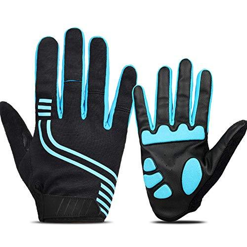 Guanti da ciclismo, guanti touch screen uomo donna dito completo moto abbigliamento resistente antivento impermeabile traspirante guanti per ciclista in tutte le condizioni atmosferiche - blu, x-large