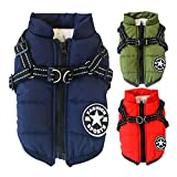 Handfly Dog Clothes for Small Dogs Dog Coat Waterproof Winter Jacket Warm Vest Dog Clothes Dog Coat Warm Winter Dog Jacket with Dog Harness for Small Dogs