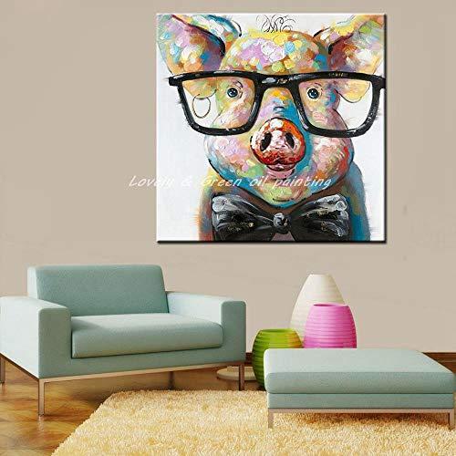 GNEHSL Handgemaltes Ölgemälde Auf Leinwand,Farbige Tiere Schwein Mit Brille, Handbemalte Modernes Wohnzimmer Wand Kunst Bilder Dekoration Ölgemälde Auf Leinwand Kunst Kein Frame