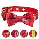 Blueberry Pet Luxuriöses Weihnachtsfest Tartan Karo Hundehalsband mit Abnehmbarer Fliege, M, Hals 33cm-42cm, Verstellbare Halsbänder für Hunde