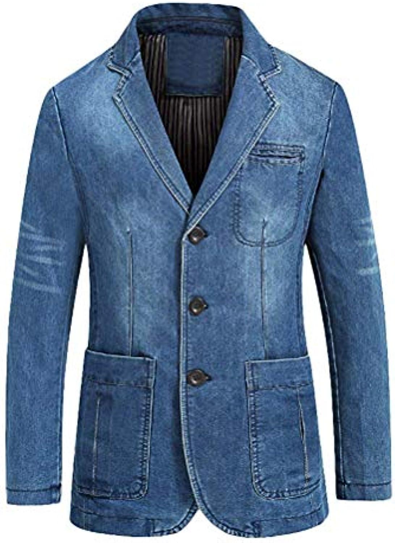 Fuxitoggo Cappotto per Giacca Casual da Uomo (Coloreee Azzurro ... 687b2f05408