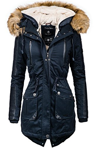 Navahoo Damen Jacke Winterjacke Winterparka Dunja (vegan hergestellt) Blau Gr. XXL