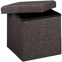 Relaxdays Banco/baúl plegable con espacio de almacenamiento hecho de lino con medidas 38 x 38 x 38 cm asiento estable 40 L capacidad, color marrón