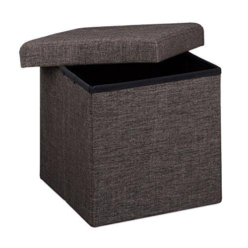 Relaxdays Faltbarer Sitzhocker, 38 x 38 x 38 cm, Sitzcube als Fußablage, Sitzwürfel aus Leinen, Deckel zum Abnehmen, braun