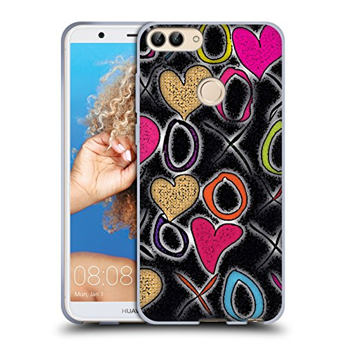 Head case designs ufficiale wondrouscre8tions baci e abbracci stampa grafica cover morbida in gel per huawei p smart/enjoy 7s