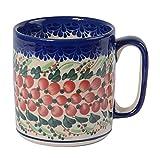 Traditionelle Polnische Keramik, handgefertigte Keramiktassen, ein Rollbecher mit Muster im Bunzlauer Stil (400ml), Q.201.CRANBERRY