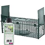 Lebendfalle Secure-M 64 cm + 100 ml Canoex Universal-Lockstoff - zuverlässige & sichere Tierfalle mit 2 Eingängen - sofort einsatzbereit & wetterfest - ideal für Marder, Kaninchen, Katzen, Ratten