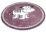 Maui Kinder Teppich Kids Zebra Lila Rund in 2 Größen