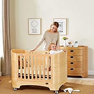 DUWEN-Cot bed Solid Wood Multifunction European Baby Cot Toddler Bed Game Bed Sofa Bed   2