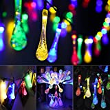 Summer Solar String Lights, Mpow 6.87M 50 LED Icicle Lights Raindrop Solar Powered LED String Lights Waterproof Outdoor Fairy Lights Decorative Solar LED Crystal Lights for Outdoor, Garden, Patio, Holiday Party