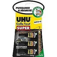 UHU Colle tout Super sans solvant, Puissance et sécurité, Minis 3x 1 G, Transparent
