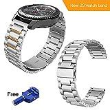 Kulink Samsung Gear S3Uhrenarmband, Edelstahl, 22mm, Ersatzband, mit gratis Pin/Uhrenglied-Entfernungswerkzeug, silber