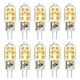 KINGSO 10 Pack G4 LED Leuchtmittel Warmweiß 3W 250lm Ersatz für 25W Halogenlampen 12V AC/DC, 3000K, 360 Grad, led Stiftsockellampe kleine Glühlampe Leuchtmittel SMD 2835 Leds Licht Nicht Dimmbar