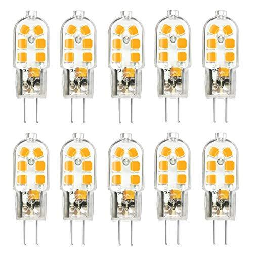 KINGSO 10 Pack G4 LED Leuchtmittel Warmweiß 3W 250lm Ersatz für 25W Halogenlampen 12V AC/DC, 3000K, 360 Grad, led Stiftsockellampe kleine Glühlampe Leuchtmittel SMD 2835 Leds Licht Nicht Dimmbar -