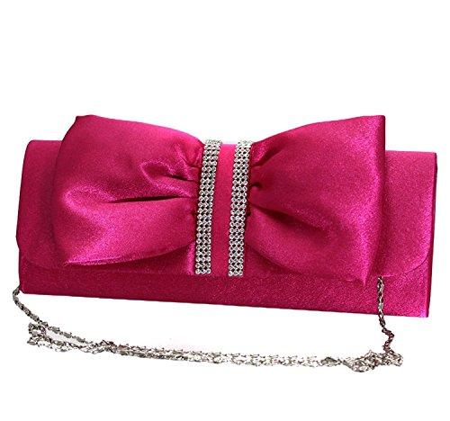 Elegante Damen Handtasche Clutch mit Strass und Schleifen Verzierung für besondere Anlässe Pink