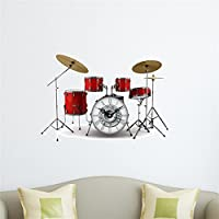 Bluelover Drum kit DIY Wall Decal orologio parete 3D adesivi orologio 3D Arte parete orologio Home Decor