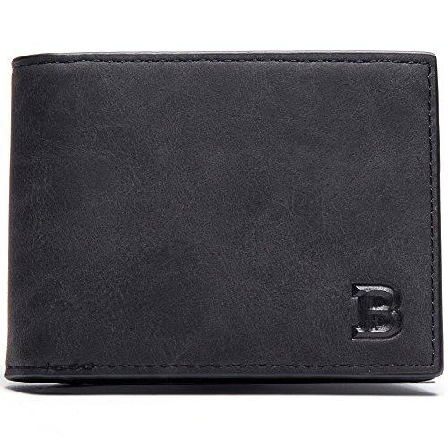 Baborry-Ultra Schlank Mini Größe Brieftasche Kartenhülle Mit Münze Reißverschluss Tasche Kaffee schwarz