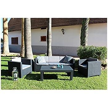 Mon Usine 211278 Le Beautiful Salon de Jardin 5 Places Effet Résine ...
