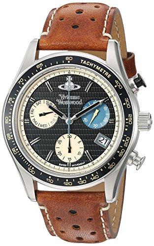 Vivienne Westwood Sotheby Hombre Reloj de cuarzo con cronógrafo negro y correa de piel color marrón vv142bktn