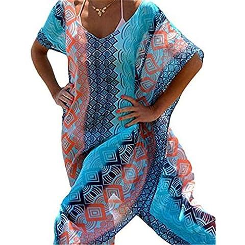 AIYUE Camisola Blusa de Bikini Traje de Baño Camiseta de Playa Pareo Blusón Top Túnica Cuello-V Vestido Suelto Verano Cover-up para Mujer