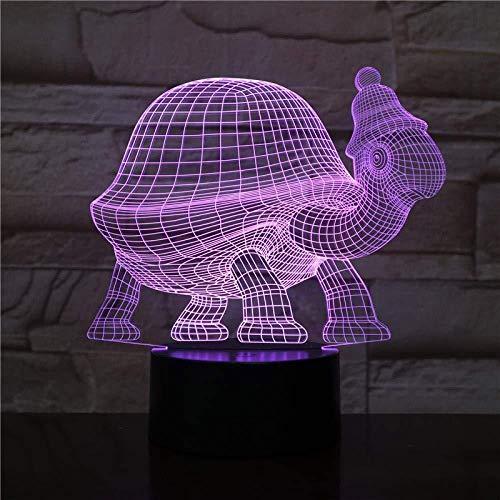 3D Nachtlicht-Tier Schildkröte 3D Licht Berührungssensor 7 Farben Dekoratives Licht Kinder Kinder Baby Kit Nachtlicht Schildkröte Nachtlicht -