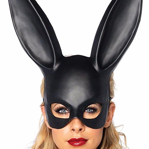 elegantstunning Uomini Donne Coniglio di Pasqua di Halloween in Maschera Maschera Accessorio per Costume per Adulti Nero