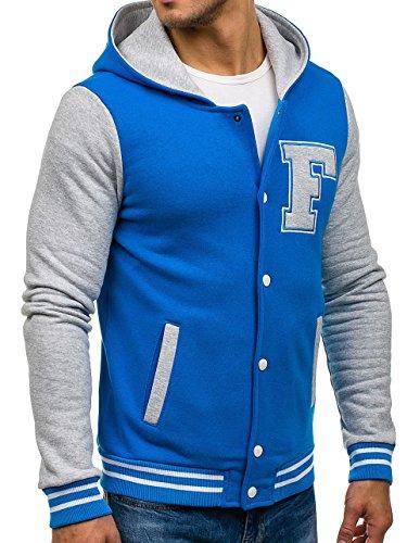 BOLF Herren Übergangsjacke Sweatjacke Sweatshirt Hoodie Baseball 4D4 Motiv Blau