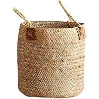 Seasaleshop Cesta de Mimbre Plegable Cesta de Flor Redondo, para el Almacenamiento de Ropa,