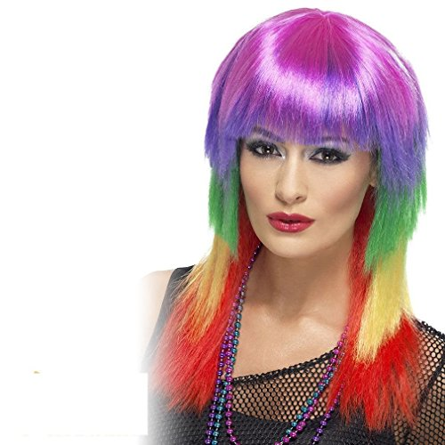 Long Multi-Coloured 80s Punk Wig for Women