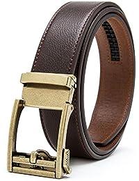 0f4ad1bfb0fd Gurscour ceintures pour hommes Ratchet coulissante ceinture en cuir  verrouillage automatique 35mm 1.4