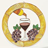 Gran final de 13pulgadas gota de vino Círculo ventana Panel Cristal tintado con soldadura de plomo y electroplate.