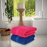 #9: Magna 450GSM Premium Cotton Set of 2 Large Bath Towels-RED & BLUE