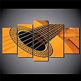 37Tdfcimpression sur Toile 5 Parties Tableau Tableaux Decoration Murale Panneau Motif Moderne Prete Suspendre Encadrée Salon Deco 150 X 80 Cm Format XXL Classique Vintage Guitare Huile