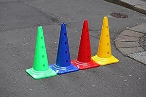agility sport pour chiens - lot de 4 cônes avec trous, 50 cm