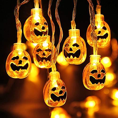 LED Kürbis Lichterkette, VegaHome 3D Halloween Schnur Lichter -