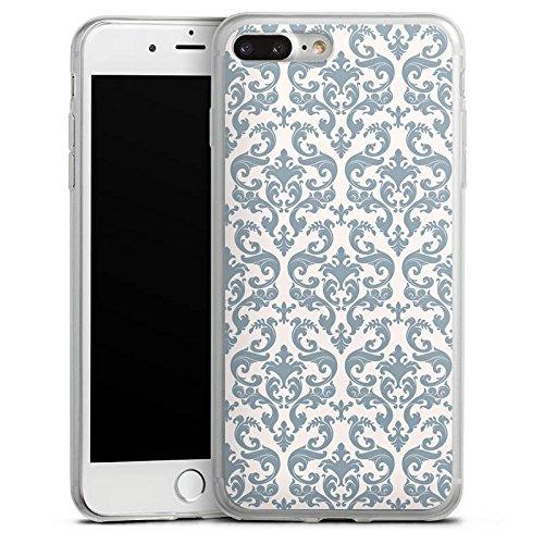 Apple iPhone 8 Plus Slim Case Silikon Hülle Schutzhülle Retro Muster Blumen Silikon Slim Case transparent