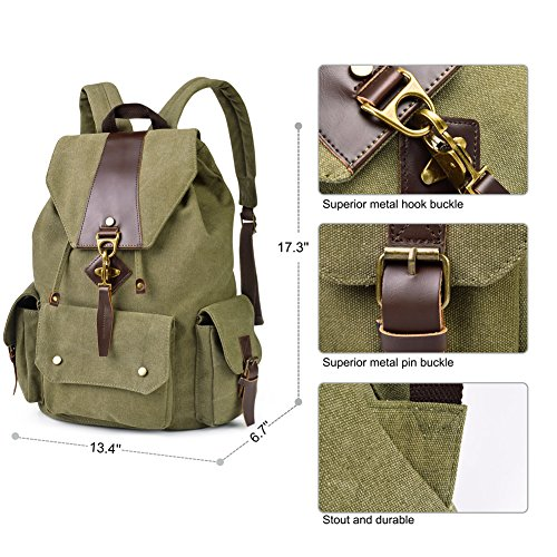 Vbiger Canvas Backpack Vintage Rucksacks Casual School Bags for Men & Women (Army Green)