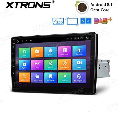 "XTRONS 10,1"" Touch Screen Single Din Autoradio mit Android 8.1 Octa Core Lenkradsteuer 4G Bluetooth5.0 1Din 2GB RAM 32GB ROM DAB & OBD2 TPMS Funktion 2.5D Gebogener Bildschirm (TM100L)"