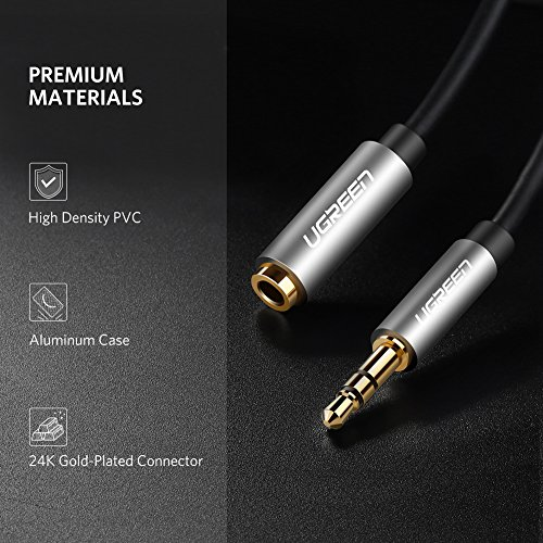 UGREEN 3.5mm Male to Female Extension Stereo Audio Extension Cable Adapter Gold Plated Compatible for iPhone, iPad or Smartphones, Tablets, Media Players. (15ft, Black) - 6